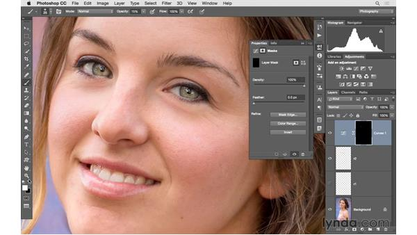 Brightening eyes with Curves and targeted color adjustements: Photoshop CC 2015 for Photographers: Fundamentals