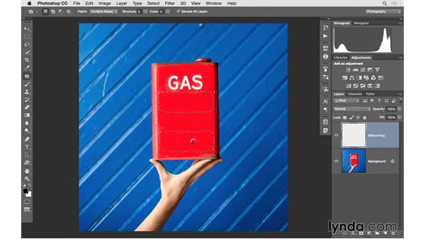 Solution: Correcting a large area of a photograph: Photoshop CC 2015 for Photographers: Fundamentals