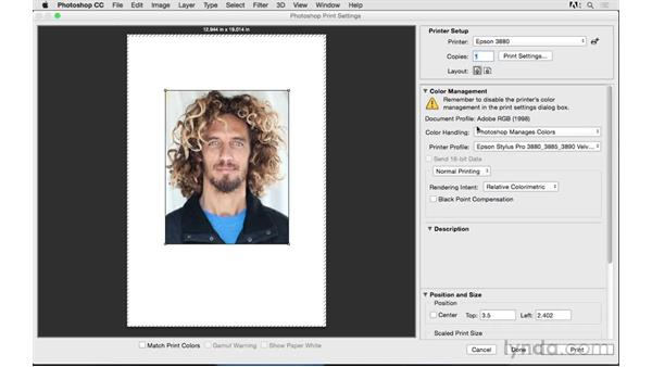 Choosing color management and printer settings: Photoshop CC 2015 for Photographers: Fundamentals