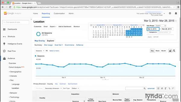 Configuring a date range: Google Analytics Essential Training