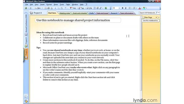 Un-sharing a notebook: OneNote 2007 Essential Training