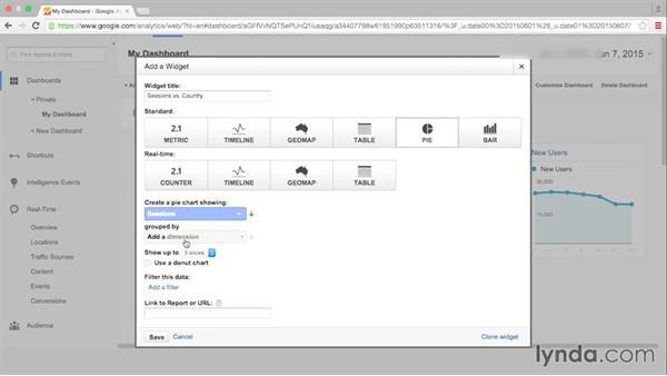 Creating and customizing dashboards: Google Analytics Essential Training