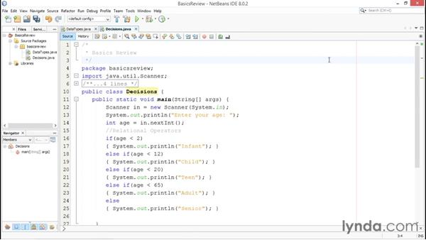 Using decisions: Java Essential Training for Students