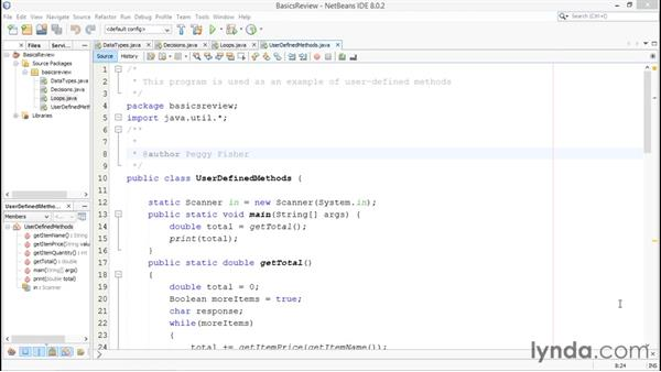 Creating user-defined methods: Java Essential Training for Students