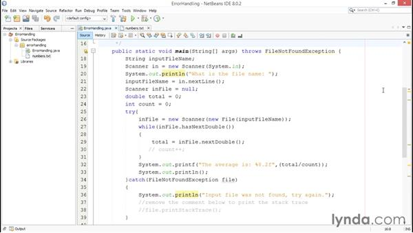 Improving your program with error handling: Java Essential Training for Students