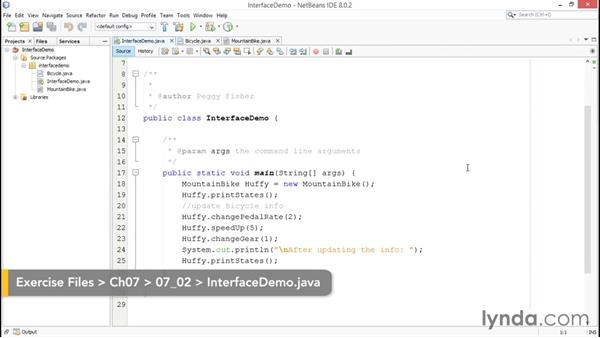 Working with interfaces: Java Essential Training for Students