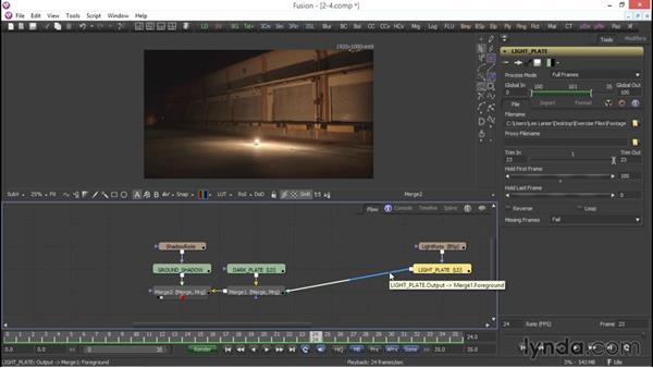 Color correction and key framing: VFX Techniques: Compositing an Explosion with Fusion 7