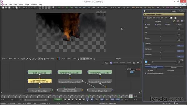 Color grading the explosion: VFX Techniques: Compositing an Explosion with Fusion 7