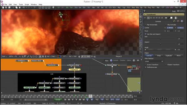 Integrating the car: VFX Techniques: Compositing an Explosion with Fusion 7