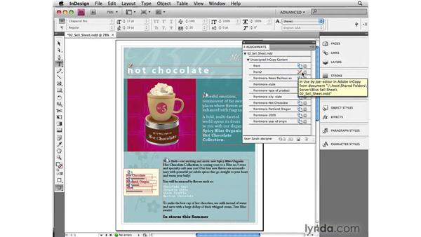Checking stories in and out: InCopy CS4 and InDesign CS4 Workflow Essential Training