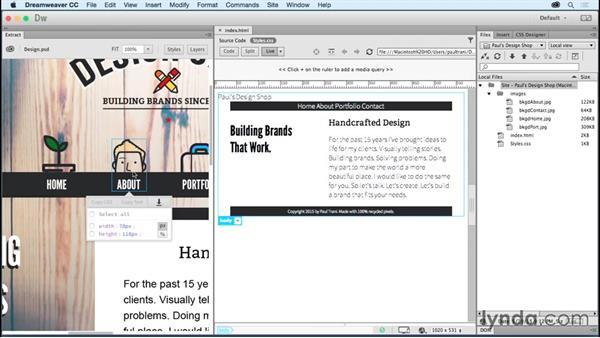 Exporting images from Photoshop: Creating a First Website in Dreamweaver CC 2015