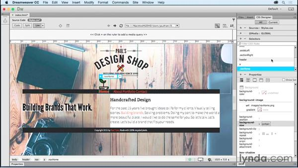Creating navigation: Creating a First Website in Dreamweaver CC 2015