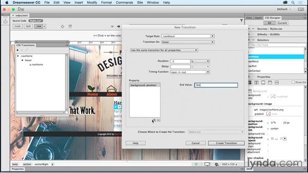 Building transitions on navigation: Creating a First Website in Dreamweaver CC 2015