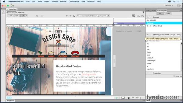 Adding media queries: Creating a First Website in Dreamweaver CC 2015