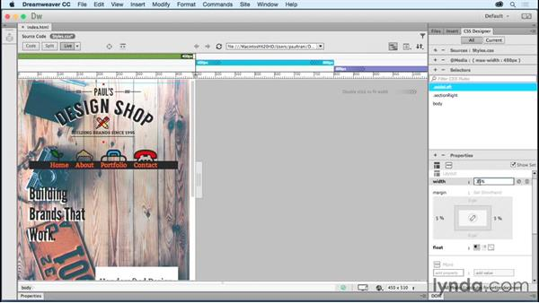 Creating a layout for mobile: Creating a First Website in Dreamweaver CC 2015