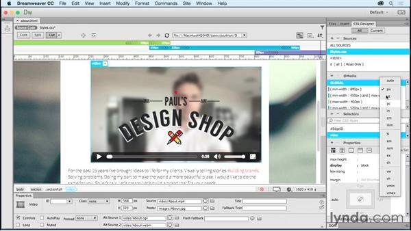 Implementing video: Creating a First Website in Dreamweaver CC 2015