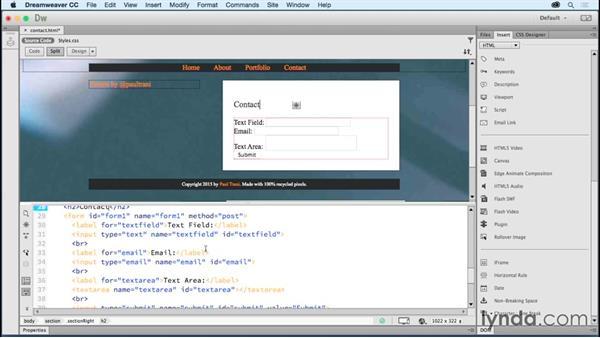 Adding input fields: Creating a First Website in Dreamweaver CC 2015