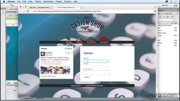 Sending contact form content: Creating a First Website in Dreamweaver CC 2015