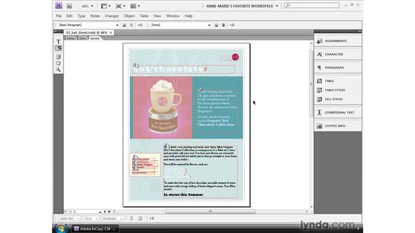 Managing panels : InCopy CS4 and InDesign CS4 Workflow Essential Training
