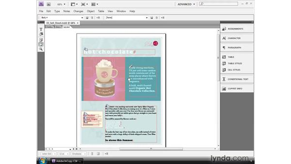 Navigating stories and views: InCopy CS4 and InDesign CS4 Workflow Essential Training