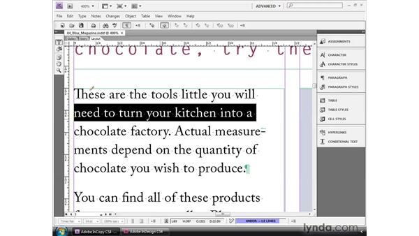 Editing in Layout view: InCopy CS4 and InDesign CS4 Workflow Essential Training