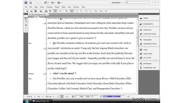 Editing in Story or Galley view: InCopy CS4 and InDesign CS4 Workflow Essential Training