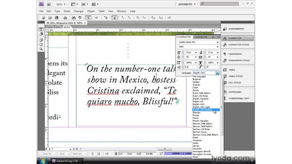 Using the language dictionaries: InCopy CS4 and InDesign CS4 Workflow Essential Training