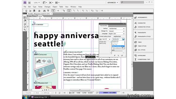 Using the thesaurus: InCopy CS4 and InDesign CS4 Workflow Essential Training