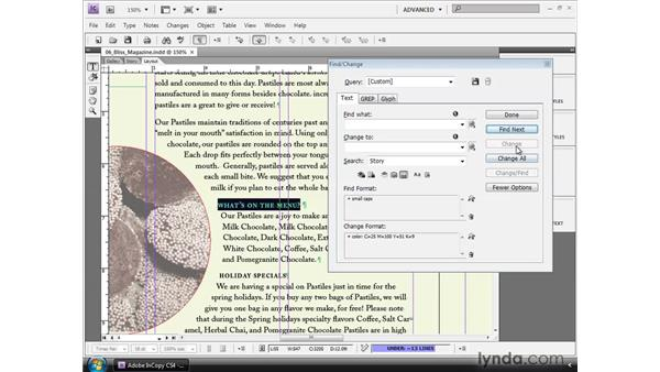 Using Find/Change: InCopy CS4 and InDesign CS4 Workflow Essential Training
