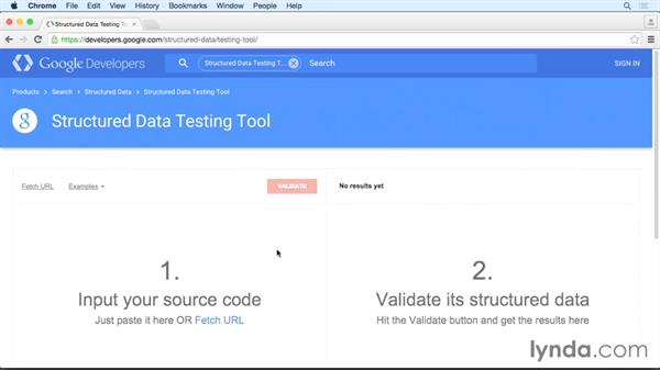 Checking event data: HTML: Structured Data