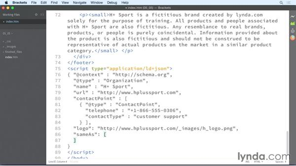 Adding social media profiles: HTML: Structured Data