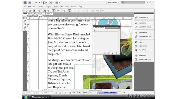 Using text macros: InCopy CS4 and InDesign CS4 Workflow Essential Training