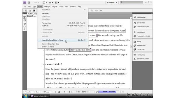 Using inline notes: InCopy CS4 and InDesign CS4 Workflow Essential Training