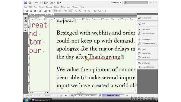 Using conditional text: InCopy CS4 and InDesign CS4 Workflow Essential Training