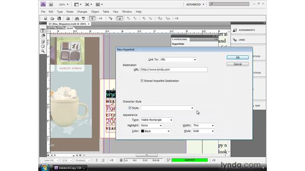 Creating hyperlinks: InCopy CS4 and InDesign CS4 Workflow Essential Training