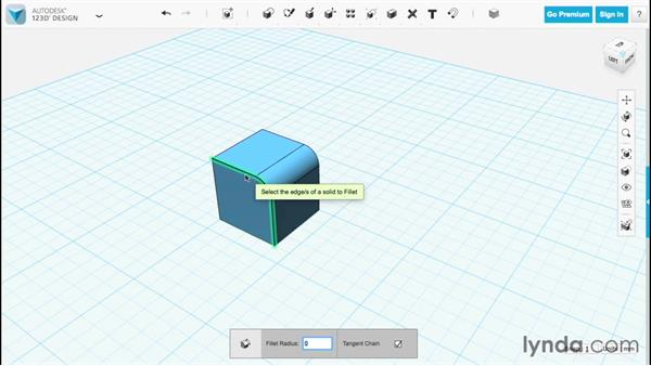 Filleting and chamfering edges: Up and Running with 123D Design