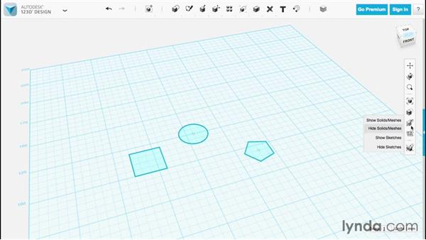 Hiding solids and sketches: Up and Running with 123D Design