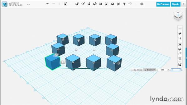 Creating a rectangular pattern: Up and Running with 123D Design