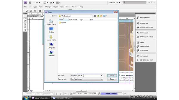 Exporting stories to Word and RTF: InCopy CS4 and InDesign CS4 Workflow Essential Training