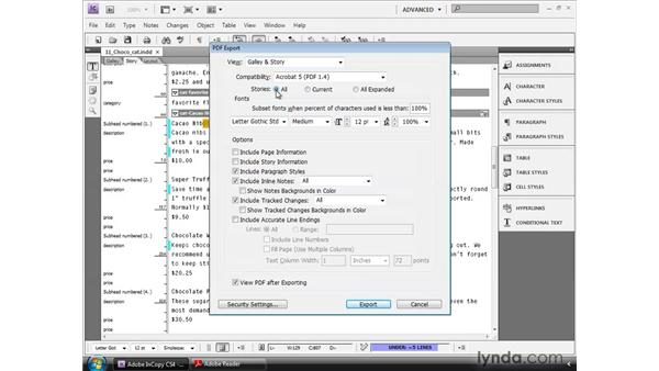 Exporting galleys and stories to PDF: InCopy CS4 and InDesign CS4 Workflow Essential Training