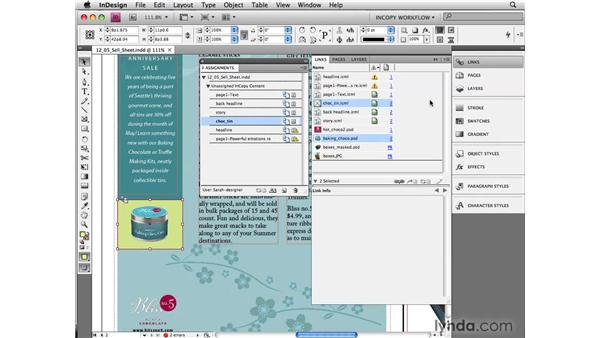 Workflow features in the Links panel: InCopy CS4 and InDesign CS4 Workflow Essential Training