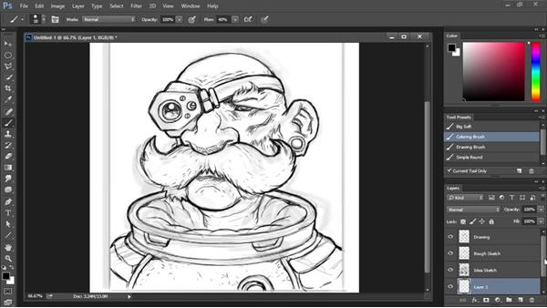 Setting up a coloring brush and layers: Drawing and Painting in Photoshop - The Great Training
