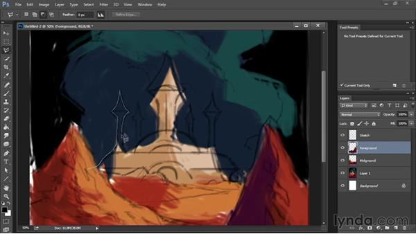 Organizing the illustration on separate layers: Drawing and Painting in Photoshop - The Great Training