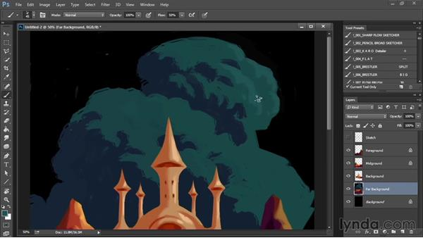 Painting the far background: Drawing and Painting in Photoshop - The Great Training