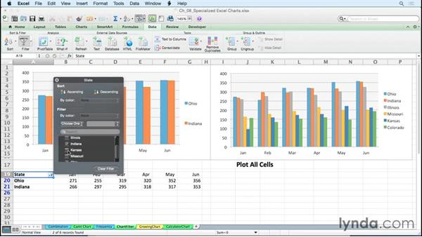 Producing dynamic charts by using filters: Excel for Mac 2011: Charts in Depth