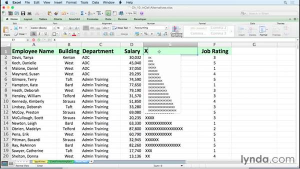Using symbols and the REPT function for in-cell charts: Excel for Mac 2011: Charts in Depth