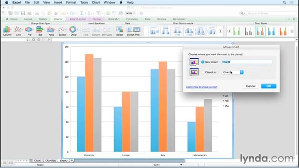 Changing the location of a chart: Excel for Mac 2011: Charts in Depth