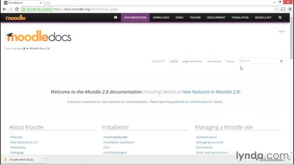 Exploring Moodle documentation: Moodle Administration Essential Training