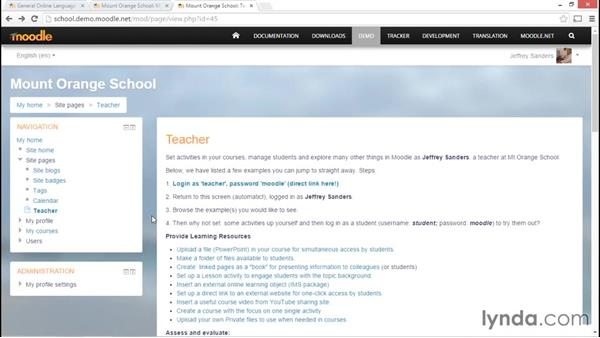 Differentiating administrator, teacher, and student views: Moodle Administration Essential Training