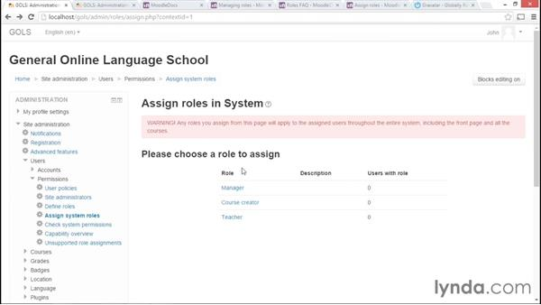 Assigning roles: Moodle Administration Essential Training
